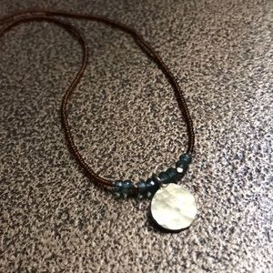 Jewelry - Hammered gold sapphire dainty circle necklace
